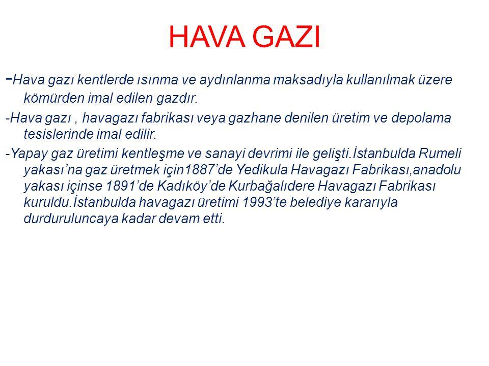 HAVA GAZI - Hava gazı kentlerde ısınma ve aydınlanma maksadıyla kullanılmak üzere kömürden imal edilen gazdır. -Hava gazı, havagazı fabrikası veya gaz
