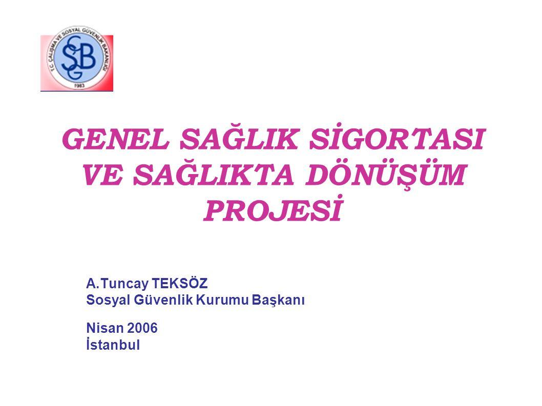 GENEL SAĞLIK SİGORTASI VE SAĞLIKTA DÖNÜŞÜM PROJESİ A.Tuncay TEKSÖZ Sosyal Güvenlik Kurumu Başkanı Nisan 2006 İstanbul