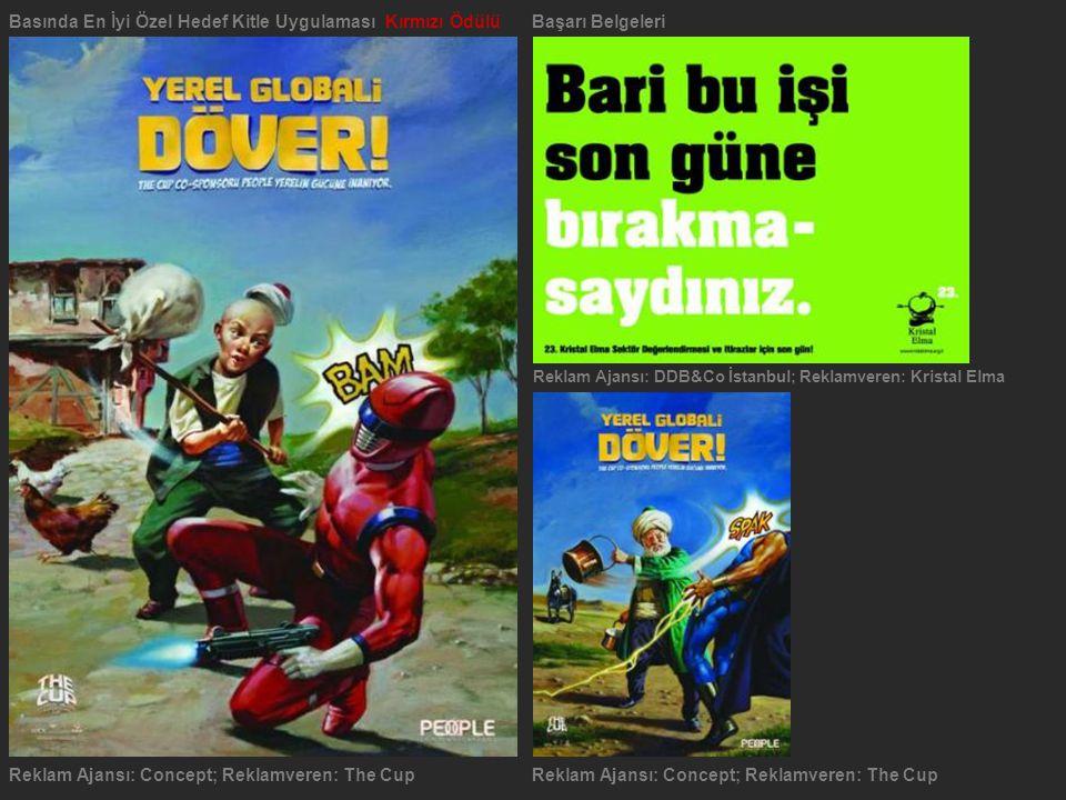 Reklam Ajansı: Concept; Reklamveren: The Cup Basında En İyi Özel Hedef Kitle Uygulaması Kırmızı ÖdülüBaşarı Belgeleri Reklam Ajansı: DDB&Co İstanbul;