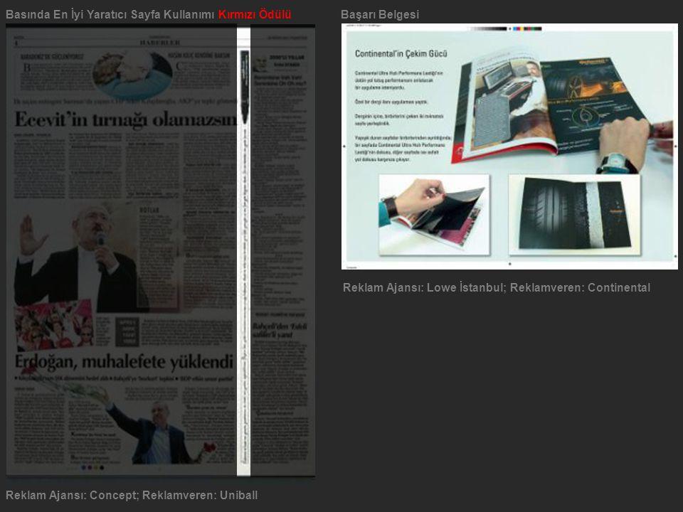 Basında En İyi Yaratıcı Sayfa Kullanımı Kırmızı ÖdülüBaşarı Belgesi Reklam Ajansı: Concept; Reklamveren: Uniball Reklam Ajansı: Lowe İstanbul; Reklamv