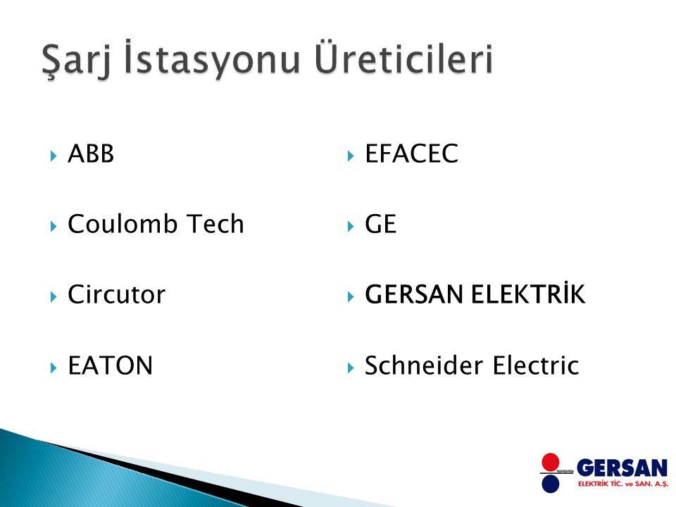  ABB  Coulomb Tech  Circutor  EATON  EFACEC  GE  GERSAN ELEKTRİK  Schneider Electric