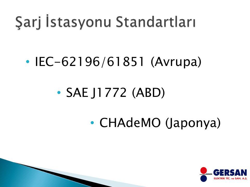 SAE J1772 (ABD) CHAdeMO (Japonya) IEC-62196/61851 (Avrupa)