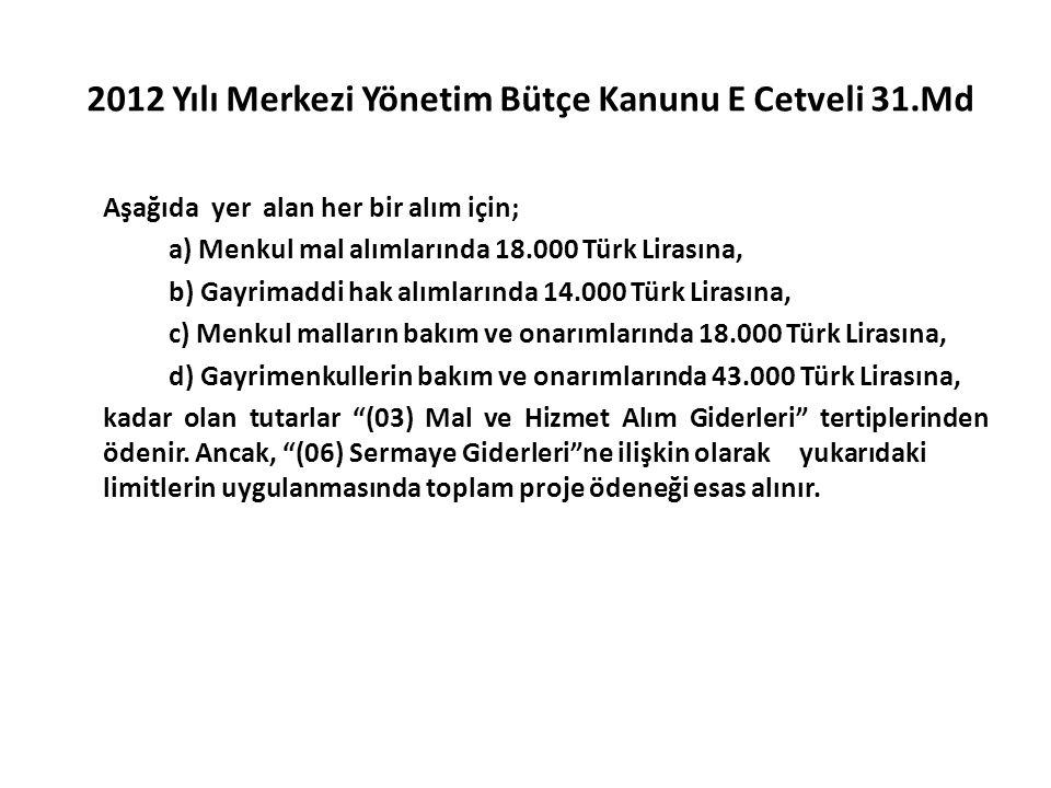 2012 Yılı Merkezi Yönetim Bütçe Kanunu E Cetveli 31.Md Aşağıda yer alan her bir alım için; a) Menkul mal alımlarında 18.000 Türk Lirasına, b) Gayrimaddi hak alımlarında 14.000 Türk Lirasına, c) Menkul malların bakım ve onarımlarında 18.000 Türk Lirasına, d) Gayrimenkullerin bakım ve onarımlarında 43.000 Türk Lirasına, kadar olan tutarlar (03) Mal ve Hizmet Alım Giderleri tertiplerinden ödenir.