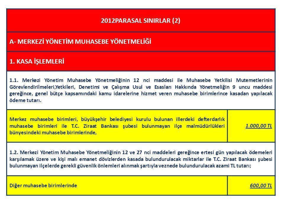 2012PARASAL SINIRLAR (2) A- MERKEZİ YÖNETİM MUHASEBE YÖNETMELİĞİ 1.