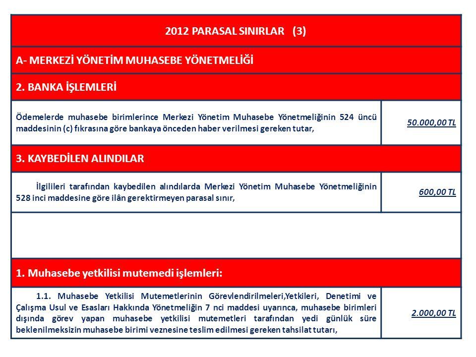 2012 PARASAL SINIRLAR (3) A- MERKEZİ YÖNETİM MUHASEBE YÖNETMELİĞİ 2. BANKA İŞLEMLERİ Ödemelerde muhasebe birimlerince Merkezi Yönetim Muhasebe Yönetme