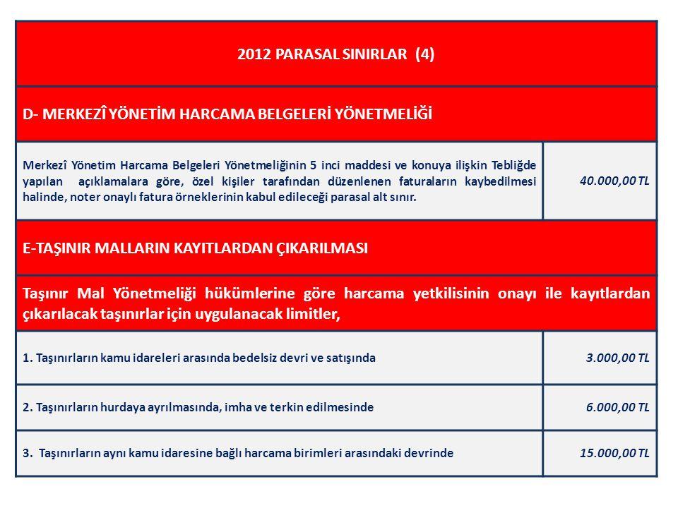 2012 PARASAL SINIRLAR (4) D- MERKEZÎ YÖNETİM HARCAMA BELGELERİ YÖNETMELİĞİ Merkezî Yönetim Harcama Belgeleri Yönetmeliğinin 5 inci maddesi ve konuya i