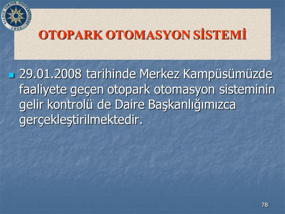 76 OTOPARK OTOMASYON SİSTEMİ 29.01.2008 tarihinde Merkez Kampüsümüzde faaliyete geçen otopark otomasyon sisteminin gelir kontrolü de Daire Başkanlığımızca gerçekleştirilmektedir.