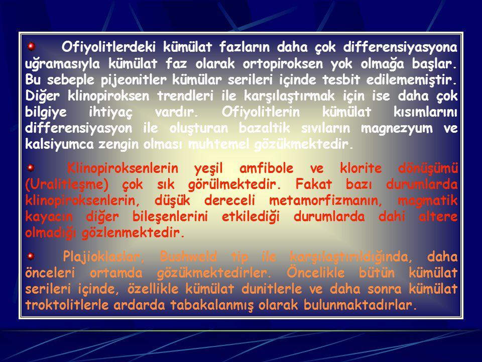 Şu ana kadar, ofiyolitik kümülatlardaki ortopiroksenler içinde klinopiroksen eksolüsyon lamelleri olduğunu belirten herhangi bir çalışma bulunmamaktad