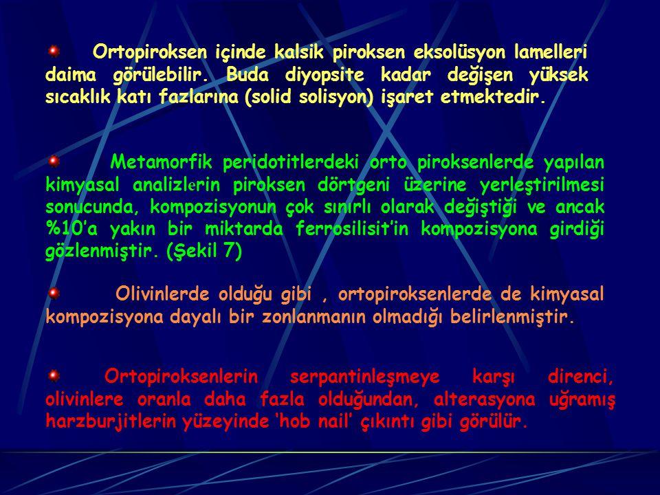 Peridotitler içindeki olivinlerin kısmen veya tamamen serpantinleşmesi olağandır. Ancak bu metamorfik peridotitler içindeki olivinler ve orto-piroksen
