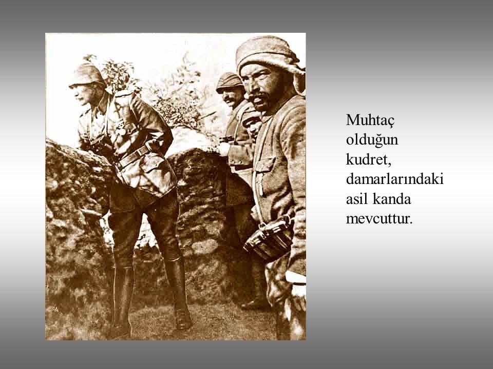 Ey Türk istikbalinin evladı! İşte, bu ahval ve şerait içinde dahi vazifen, Türk istiklal ve Cumhuriyetini kurtarmaktır!