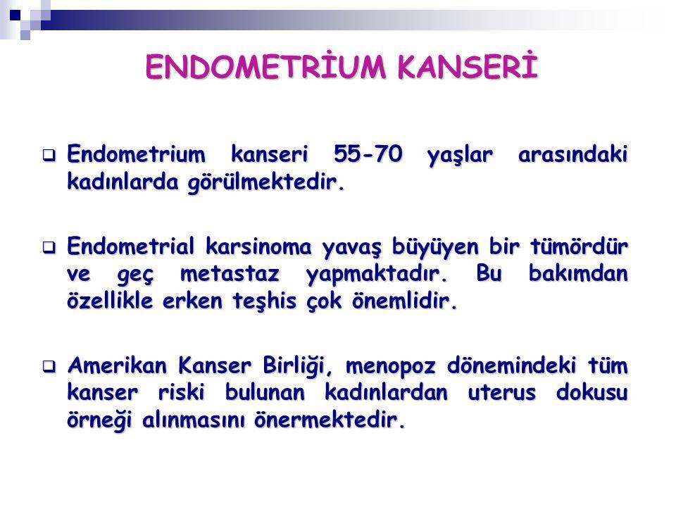 ENDOMETRİUM KANSERİ  Endometrium kanseri 55-70 yaşlar arasındaki kadınlarda görülmektedir.  Endometrial karsinoma yavaş büyüyen bir tümördür ve geç