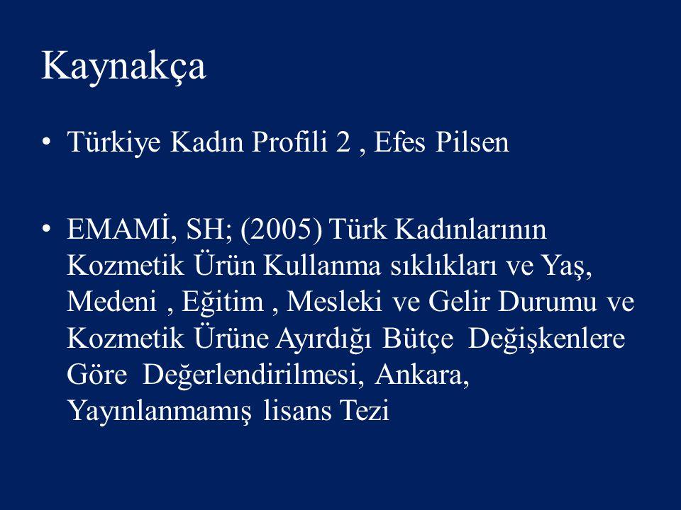 Kaynakça Türkiye Kadın Profili 2, Efes Pilsen EMAMİ, SH; (2005) Türk Kadınlarının Kozmetik Ürün Kullanma sıklıkları ve Yaş, Medeni, Eğitim, Mesleki ve