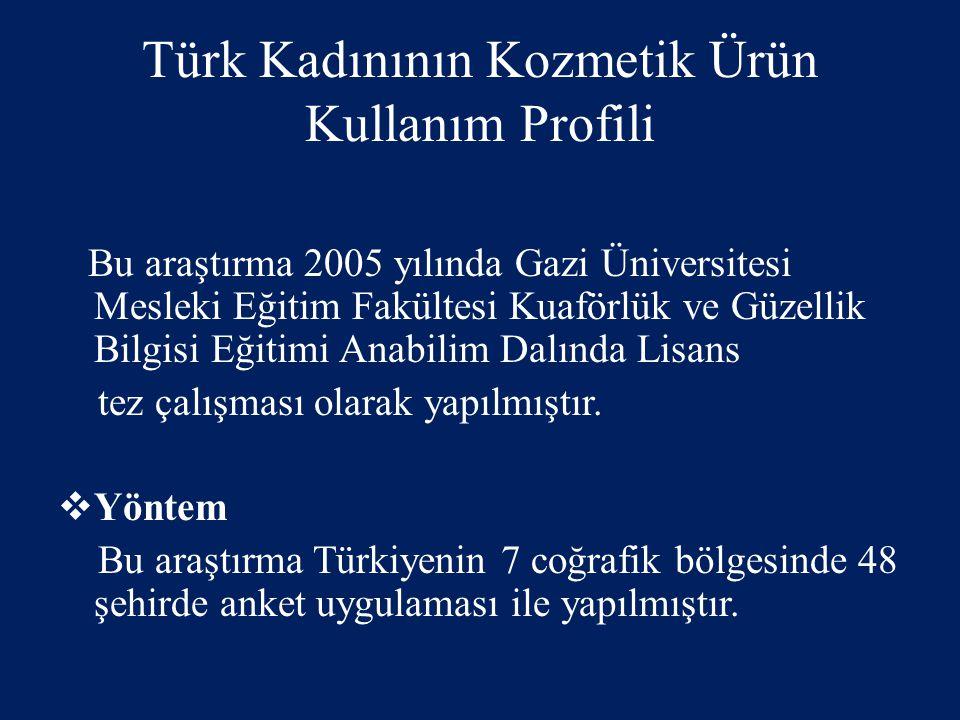 Türk Kadınının Kozmetik Ürün Kullanım Profili Bu araştırma 2005 yılında Gazi Üniversitesi Mesleki Eğitim Fakültesi Kuaförlük ve Güzellik Bilgisi Eğiti