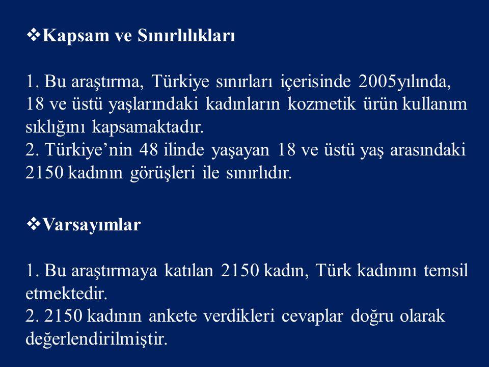  Kapsam ve Sınırlılıkları 1. Bu araştırma, Türkiye sınırları içerisinde 2005yılında, 18 ve üstü yaşlarındaki kadınların kozmetik ürün kullanım sıklığ