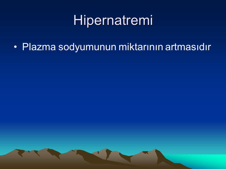 Hipernatremi Plazma sodyumunun miktarının artmasıdır
