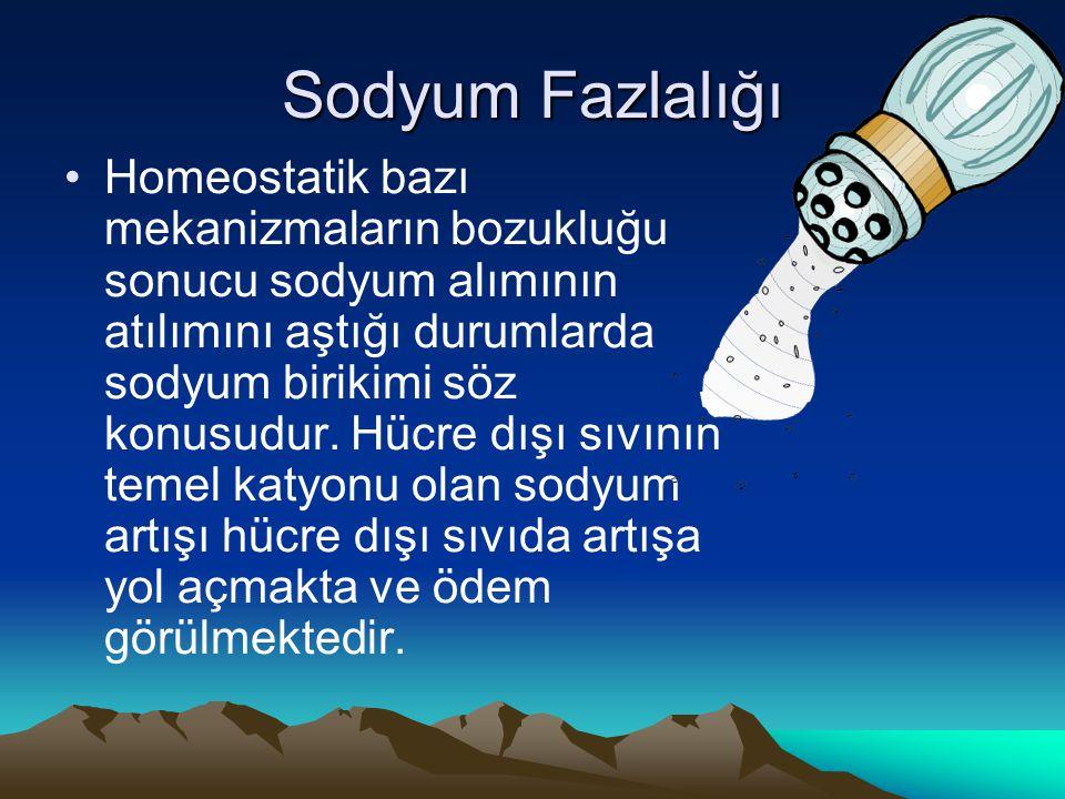 Sodyum Fazlalığı Homeostatik bazı mekanizmaların bozukluğu sonucu sodyum alımının atılımını aştığı durumlarda sodyum birikimi söz konusudur. Hücre dış