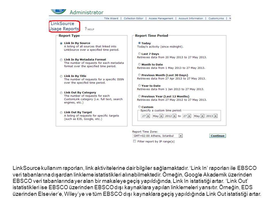 'Knowledge Base Change Reports' ile AtoZ bilgi havuzuna belirli bir zaman diliminde eklenen yayıncı paketleri ya da veri tabanlarını listelemek mümkündür.