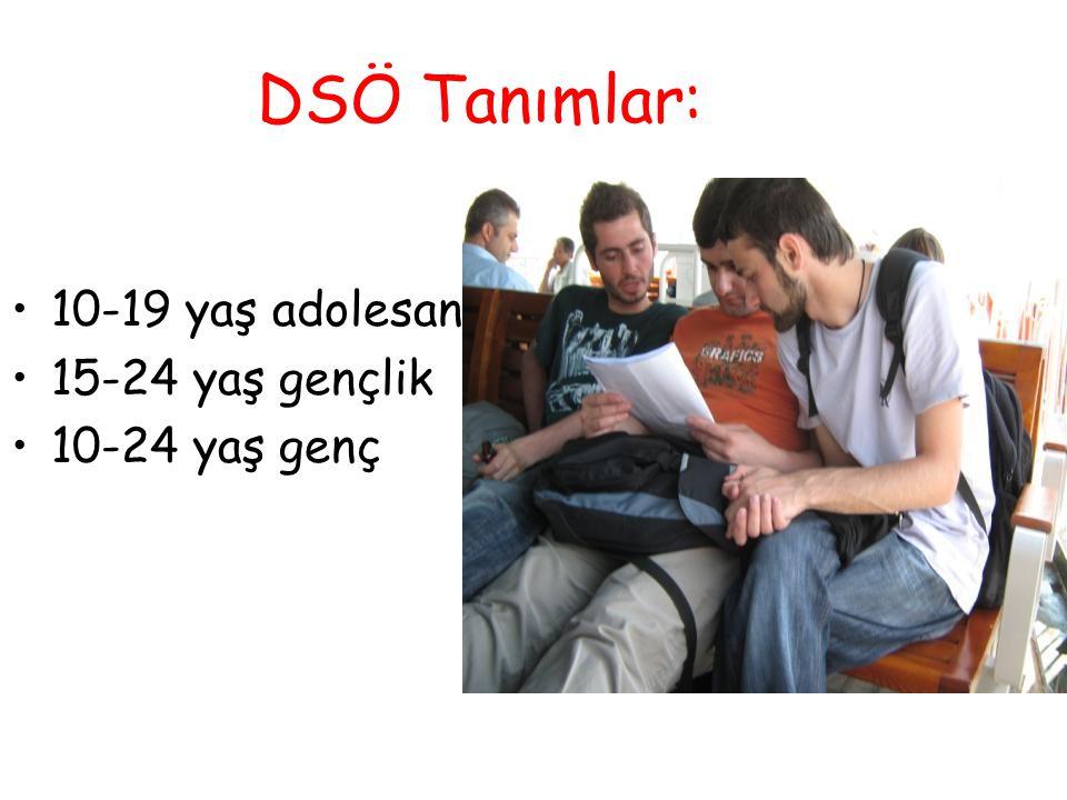 DSÖ Tanımlar: 10-19 yaş adolesan 15-24 yaş gençlik 10-24 yaş genç