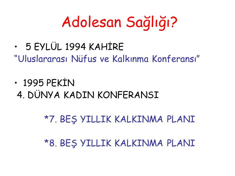 """Adolesan Sağlığı? 5 EYLÜL 1994 KAHİRE """"Uluslararası Nüfus ve Kalkınma Konferansı"""" 1995 PEKİN 4. DÜNYA KADIN KONFERANSI *7. BEŞ YILLIK KALKINMA PLANI *"""