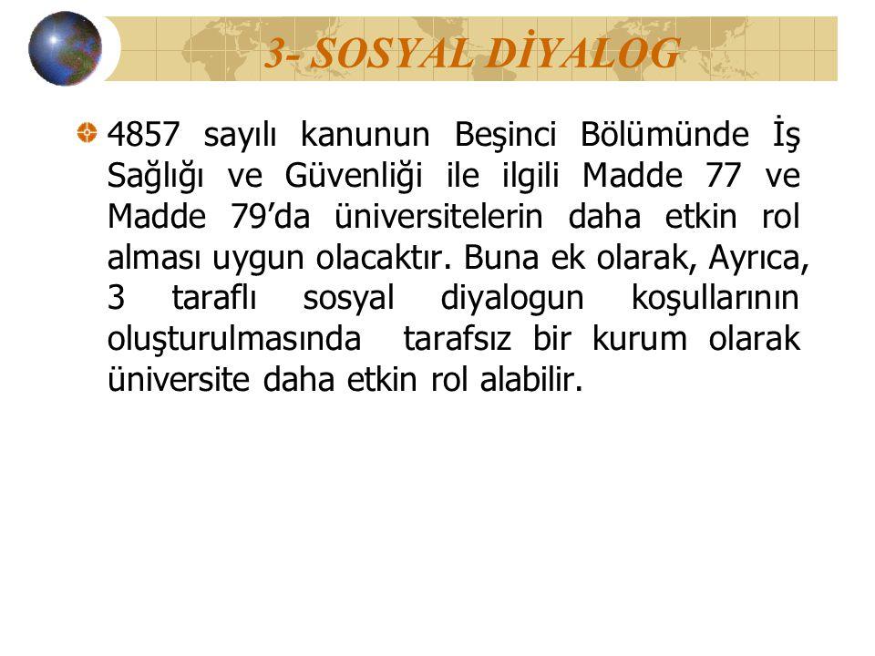 3- SOSYAL DİYALOG 4857 sayılı kanunun Beşinci Bölümünde İş Sağlığı ve Güvenliği ile ilgili Madde 77 ve Madde 79'da üniversitelerin daha etkin rol alma
