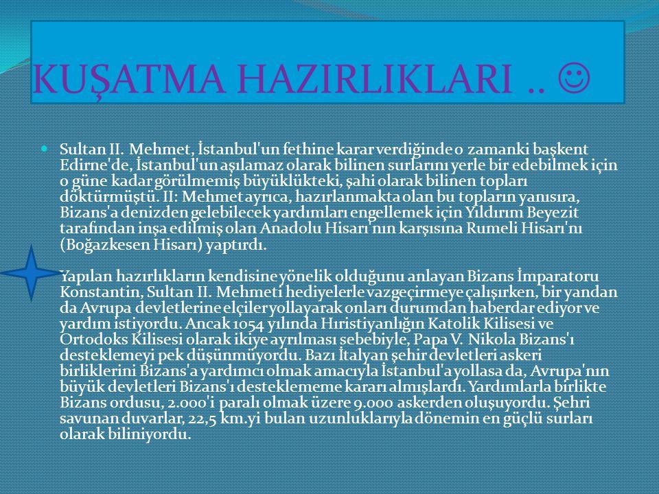 ÖNCEKİ FETİH DENEMELERİ.. Karadeniz ve Akdeniz'i birbirine bağlayan deniz yolu üzerinde kurulu olan İstanbul, günümüzde olduğu gibi o zamanlar da oldu