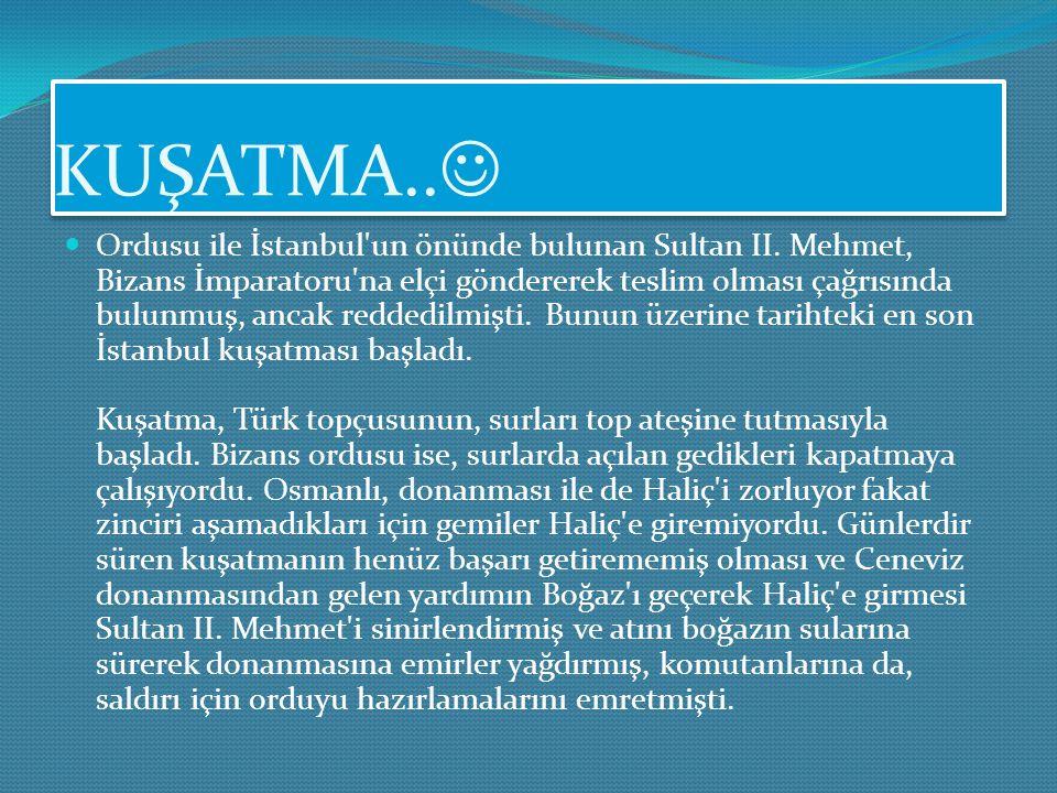 KUŞATMA HAZIRLIKLARI.. Sultan II. Mehmet, İstanbul'un fethine karar verdiğinde o zamanki başkent Edirne'de, İstanbul'un aşılamaz olarak bilinen surlar