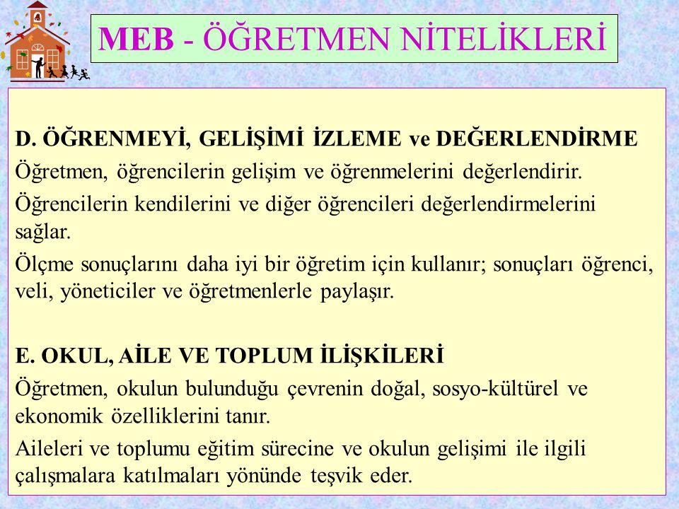 MEB - ÖĞRETMEN NİTELİKLERİ D.