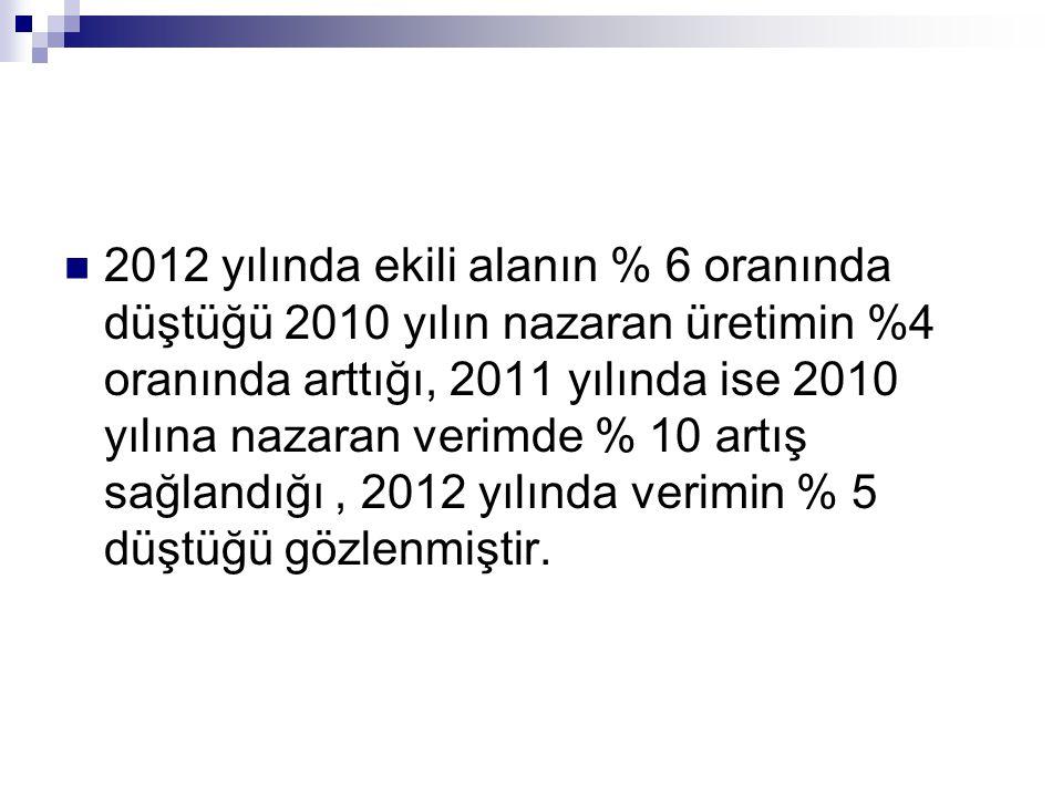 2012 yılında ekili alanın % 6 oranında düştüğü 2010 yılın nazaran üretimin %4 oranında arttığı, 2011 yılında ise 2010 yılına nazaran verimde % 10 artı