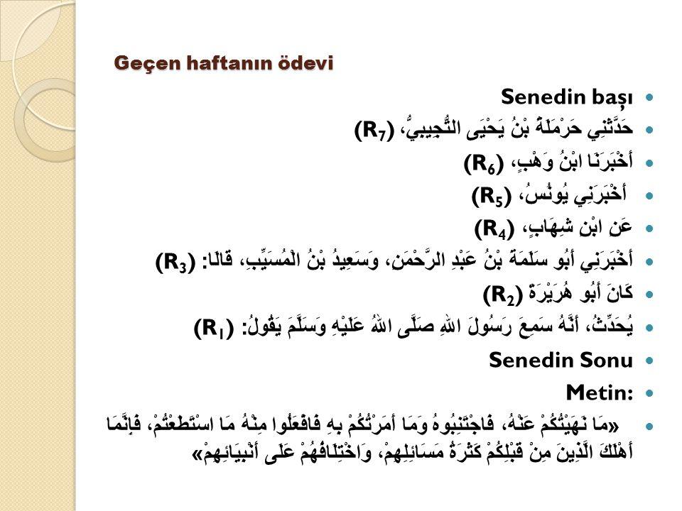 Geçen haftanın ödevi Senedin başı حَدَّثَنِي حَرْمَلَةُ بْنُ يَحْيَى التُّجِيبِيُّ، (R 7 ) أَخْبَرَنَا ابْنُ وَهْبٍ، (R 6 ) أَخْبَرَنِي يُونُسُ، (R 5