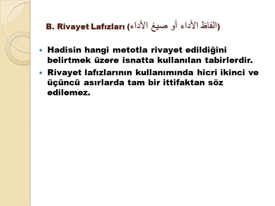 B. Rivayet Lafızları ( الفاظ الأداء أو صيغ الأداء ) Hadisin hangi metotla rivayet edildiğini belirtmek üzere isnatta kullanılan tabirlerdir. Rivayet l
