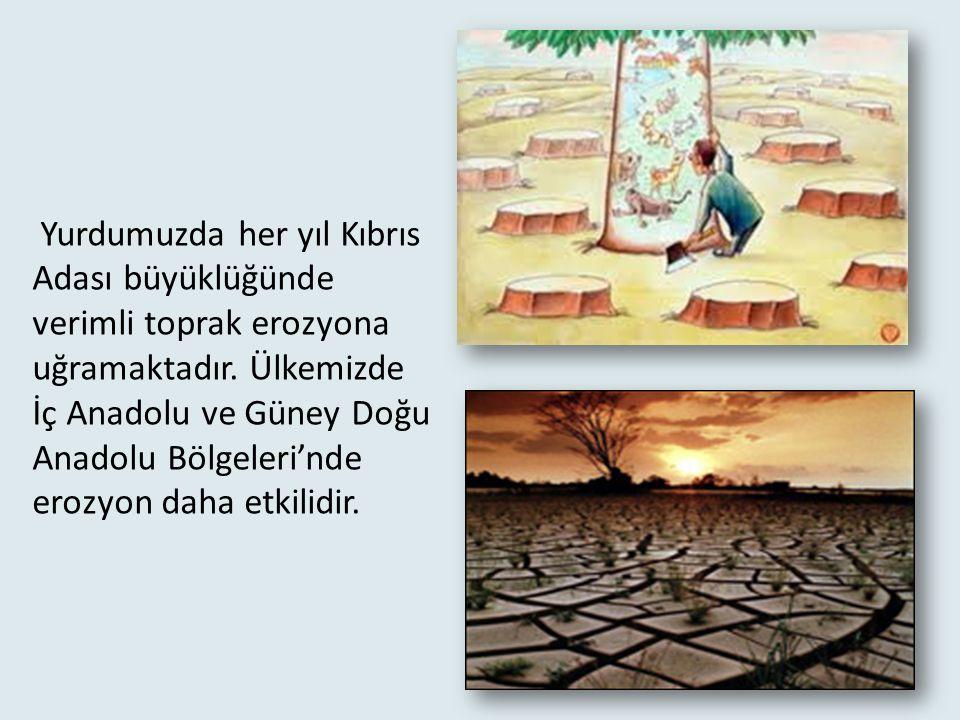 Erozyon : Hava ve çevre koşulları sebebiyle toprak, akarsular ve rüzgar tarafından aşınarak taşınır. Bu sırada değerli ve verimli topraklar kaybedilir