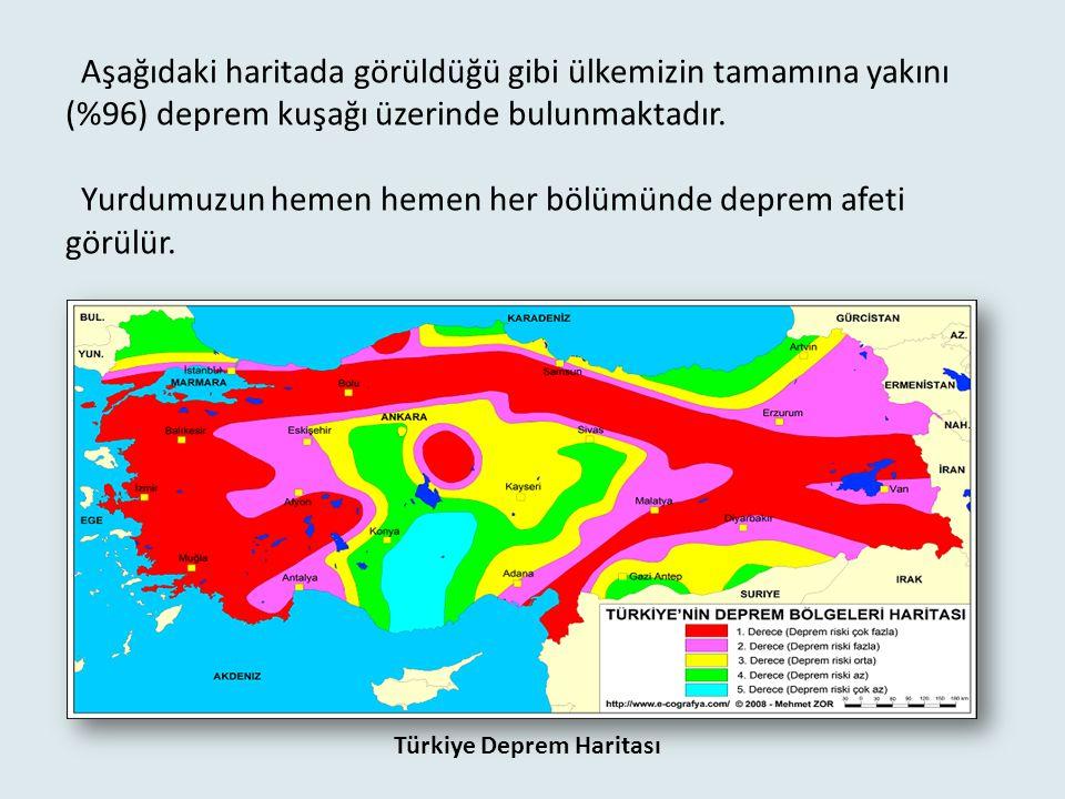 Türkiye'de doğal afetler deprem, heyelan, erozyon, sel- taşkın, ve çığ olmak üzere 5 bölümde incelenmektedir. Deprem : Yer kabuğundaki aniden oluşan s