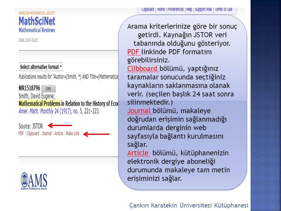 Çankırı Karatekin Üniversitesi Kütüphanesi Yazarın ismini yazınız.