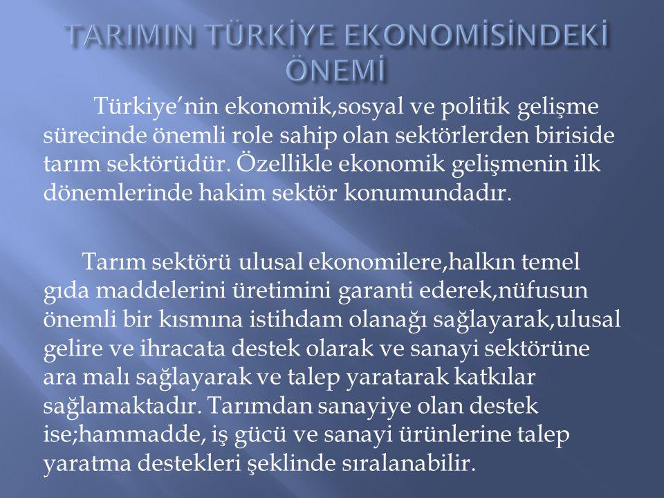 Türkiye'nin ekonomik,sosyal ve politik gelişme sürecinde önemli role sahip olan sektörlerden biriside tarım sektörüdür. Özellikle ekonomik gelişmenin