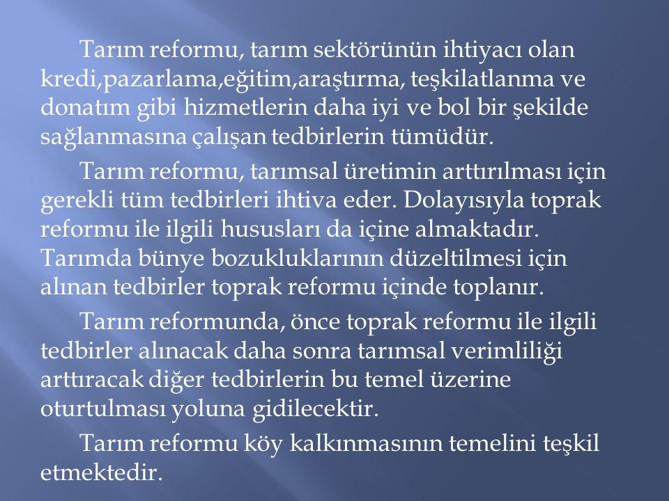 Tarım reformu, tarım sektörünün ihtiyacı olan kredi,pazarlama,eğitim,araştırma, teşkilatlanma ve donatım gibi hizmetlerin daha iyi ve bol bir şekilde