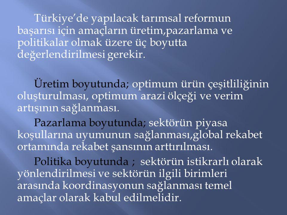 Türkiye'de yapılacak tarımsal reformun başarısı için amaçların üretim,pazarlama ve politikalar olmak üzere üç boyutta değerlendirilmesi gerekir. Üreti
