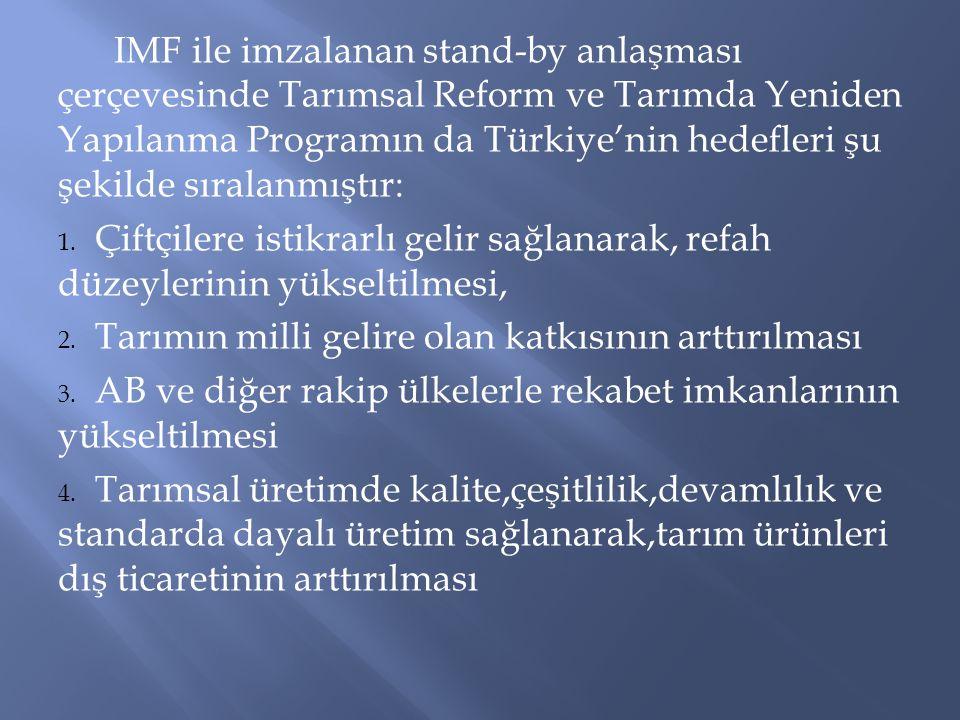 IMF ile imzalanan stand-by anlaşması çerçevesinde Tarımsal Reform ve Tarımda Yeniden Yapılanma Programın da Türkiye'nin hedefleri şu şekilde sıralanmı