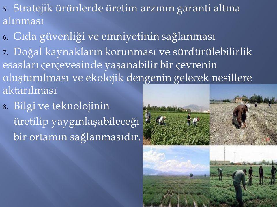 5. Stratejik ürünlerde üretim arzının garanti altına alınması 6. Gıda güvenliği ve emniyetinin sağlanması 7. Doğal kaynakların korunması ve sürdürüleb