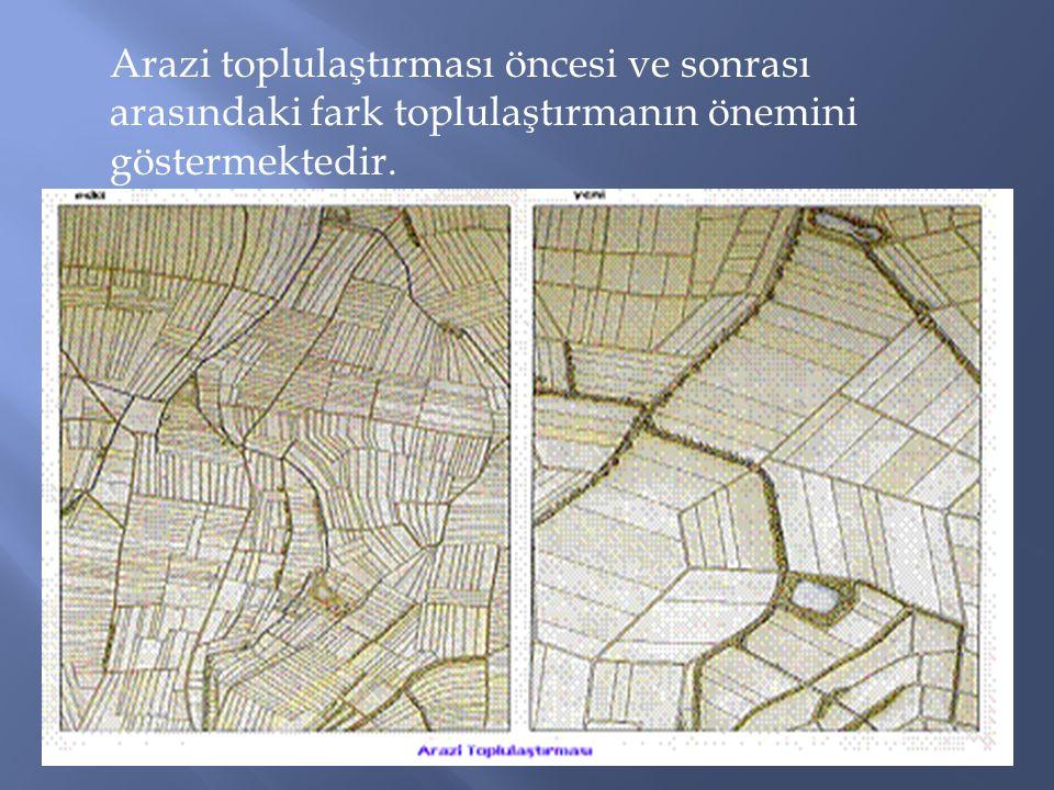 Arazi toplulaştırması öncesi ve sonrası arasındaki fark toplulaştırmanın önemini göstermektedir.