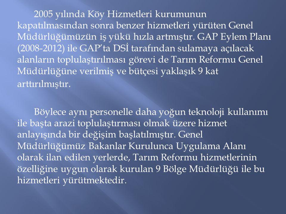 2005 yılında Köy Hizmetleri kurumunun kapatılmasından sonra benzer hizmetleri yürüten Genel Müdürlüğümüzün iş yükü hızla artmıştır. GAP Eylem Planı (2