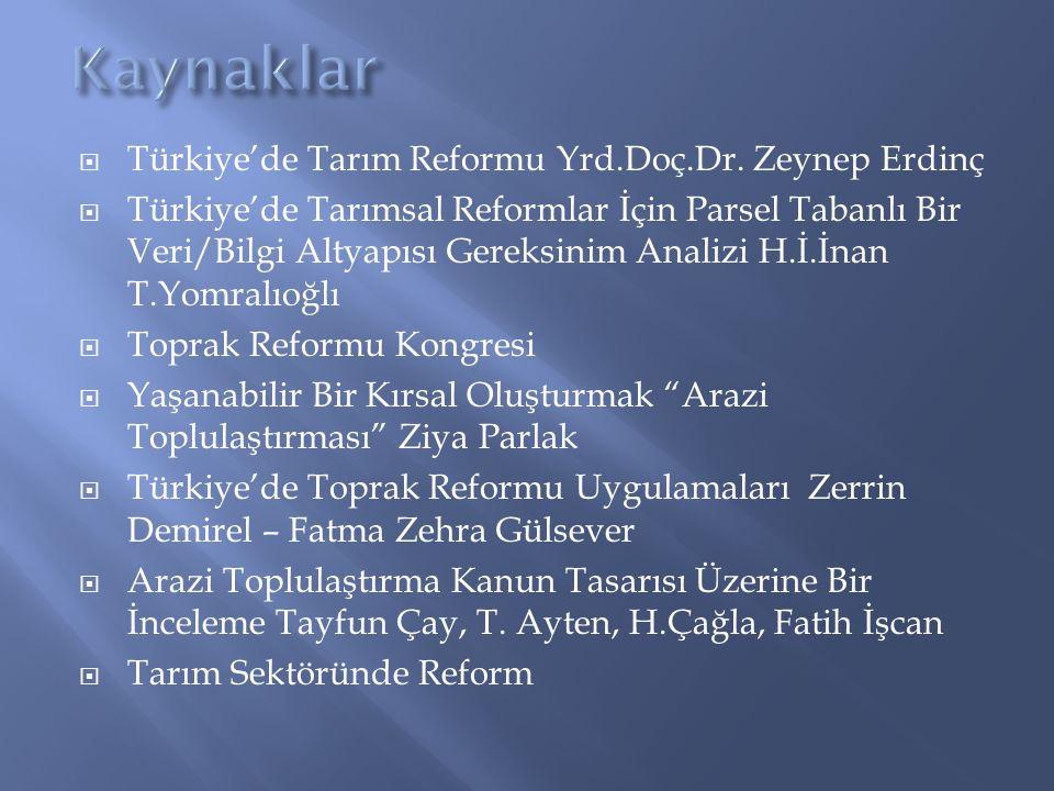  Türkiye'de Tarım Reformu Yrd.Doç.Dr. Zeynep Erdinç  Türkiye'de Tarımsal Reformlar İçin Parsel Tabanlı Bir Veri/Bilgi Altyapısı Gereksinim Analizi H