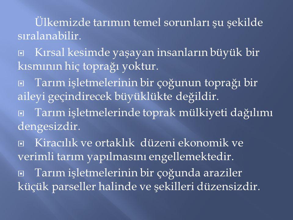  Türkiye'de Tarım Reformu Yrd.Doç.Dr.