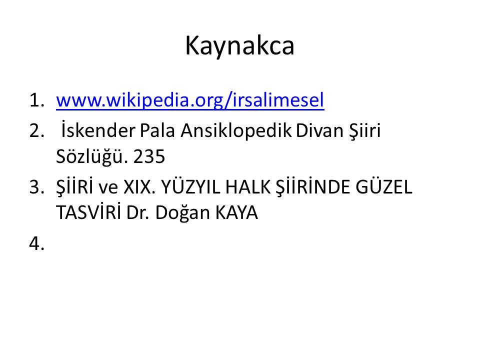 Kaynakca 1.www.wikipedia.org/irsalimeselwww.wikipedia.org/irsalimesel 2.