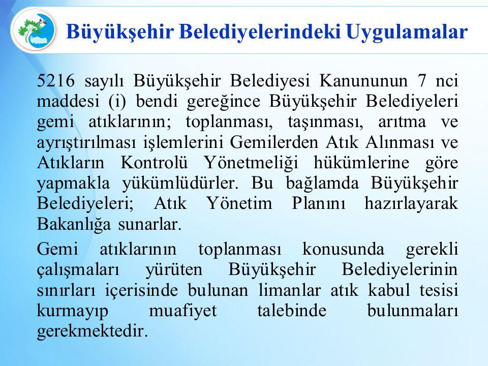 Büyükşehir Belediyelerindeki Uygulamalar 5216 sayılı Büyükşehir Belediyesi Kanununun 7 nci maddesi (i) bendi gereğince Büyükşehir Belediyeleri gemi at