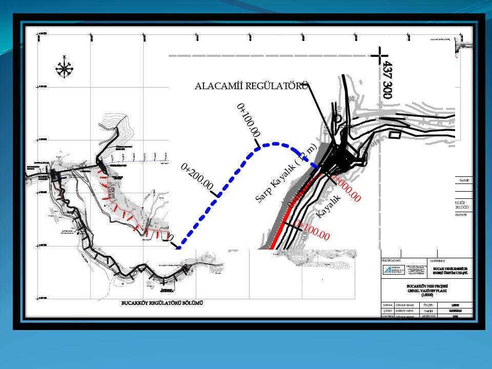 Su alma tesisi Tipi : Dolu Gövdeli Regülatör Talveg kotu : 397.26 m Kret kotu : 400.96 m Dolusavak kapasitesi : 89.45 m³/s (Q100 - Sentetik Metot) Regülatör havuz uzunluğu : 8.00 m Kret Genişliği : 15.00 m Çakıl Geçidi Yeri : Sağ Sahil Çakıl Geçidi Kapağı : 1x1.50x2.00 m Priz Yapısı Yeri : Sağ Sahil Priz Yapısı Kapağı : 2x1.20x2.50 m