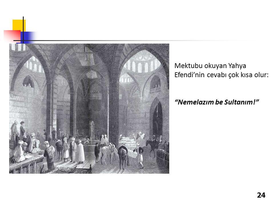Mektubu okuyan Yahya Efendi'nin cevabı çok kısa olur: Nemelazım be Sultanım! 24