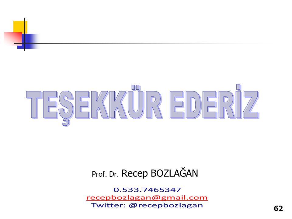 62 Prof. Dr. Recep BOZLAĞAN