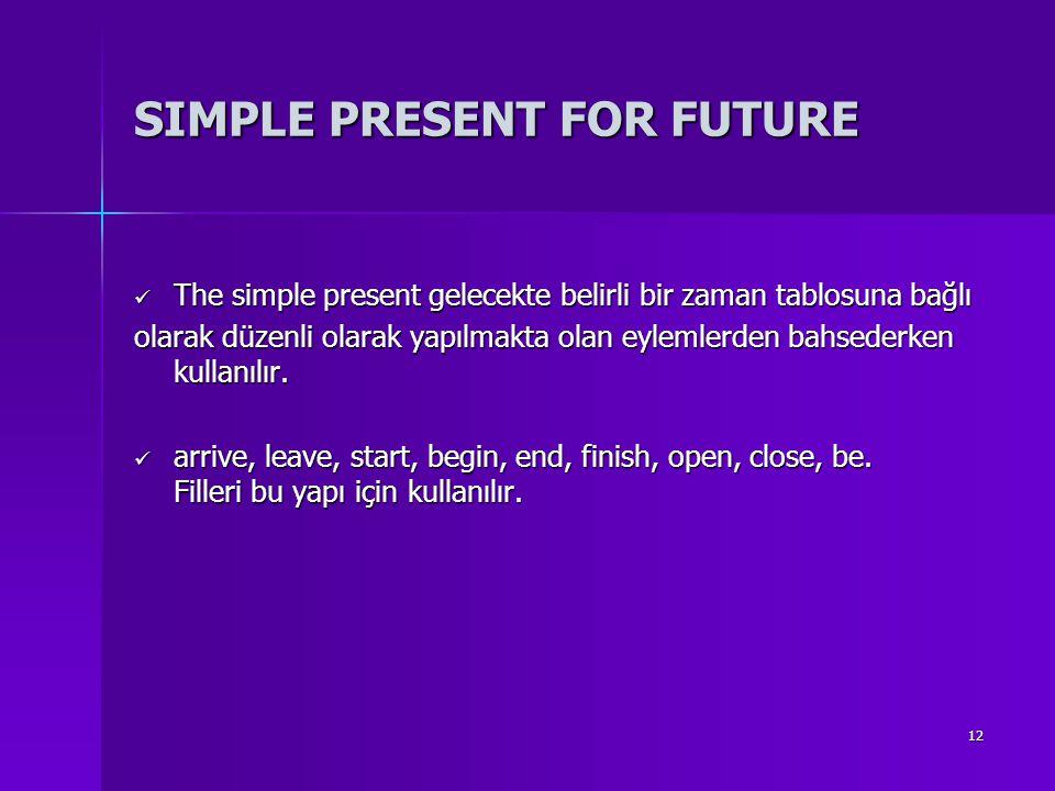 12 SIMPLE PRESENT FOR FUTURE The simple present gelecekte belirli bir zaman tablosuna bağlı The simple present gelecekte belirli bir zaman tablosuna b
