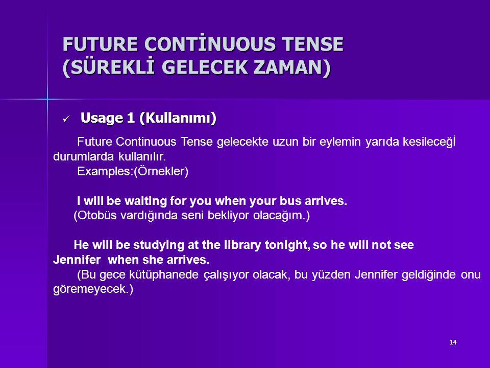 14 FUTURE CONTİNUOUS TENSE (SÜREKLİ GELECEK ZAMAN) Usage 1 (Kullanımı) Usage 1 (Kullanımı) Future Continuous Tense gelecekte uzun bir eylemin yarıda k