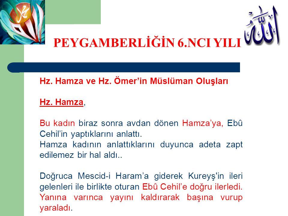 Hz. Hamza ve Hz. Ömer'in Müslüman Oluşları Hz. Hamza, Bu kadın biraz sonra avdan dönen Hamza'ya, Ebû Cehil'in yaptıklarını anlattı. Hamza kadının anla